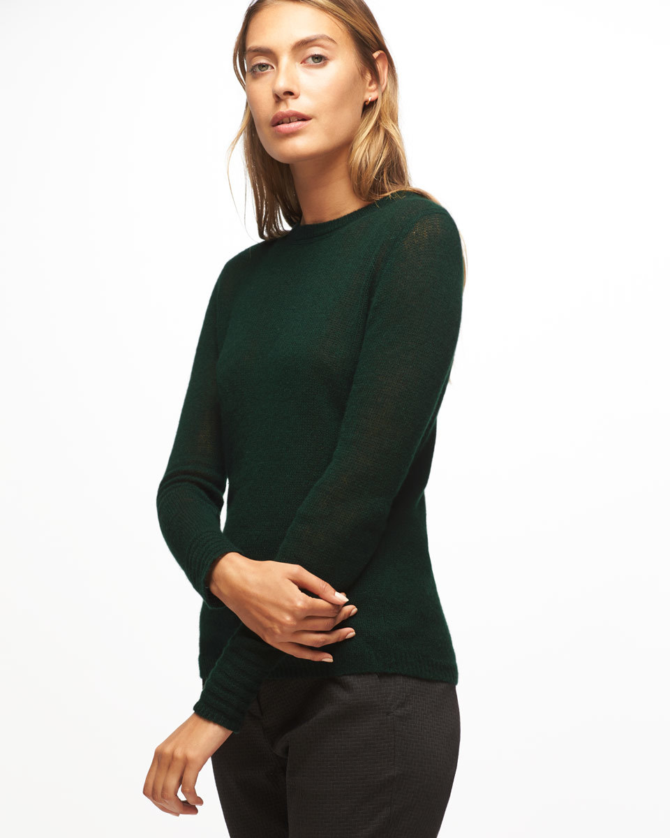 Cloud Cashmere Crew Neck Jumper - pattern: plain; predominant colour: dark green; occasions: casual; length: standard; style: top; fit: body skimming; neckline: crew; fibres: cashmere - 100%; sleeve length: long sleeve; sleeve style: standard; texture group: knits/crochet; pattern type: fabric; season: a/w 2016; wardrobe: highlight