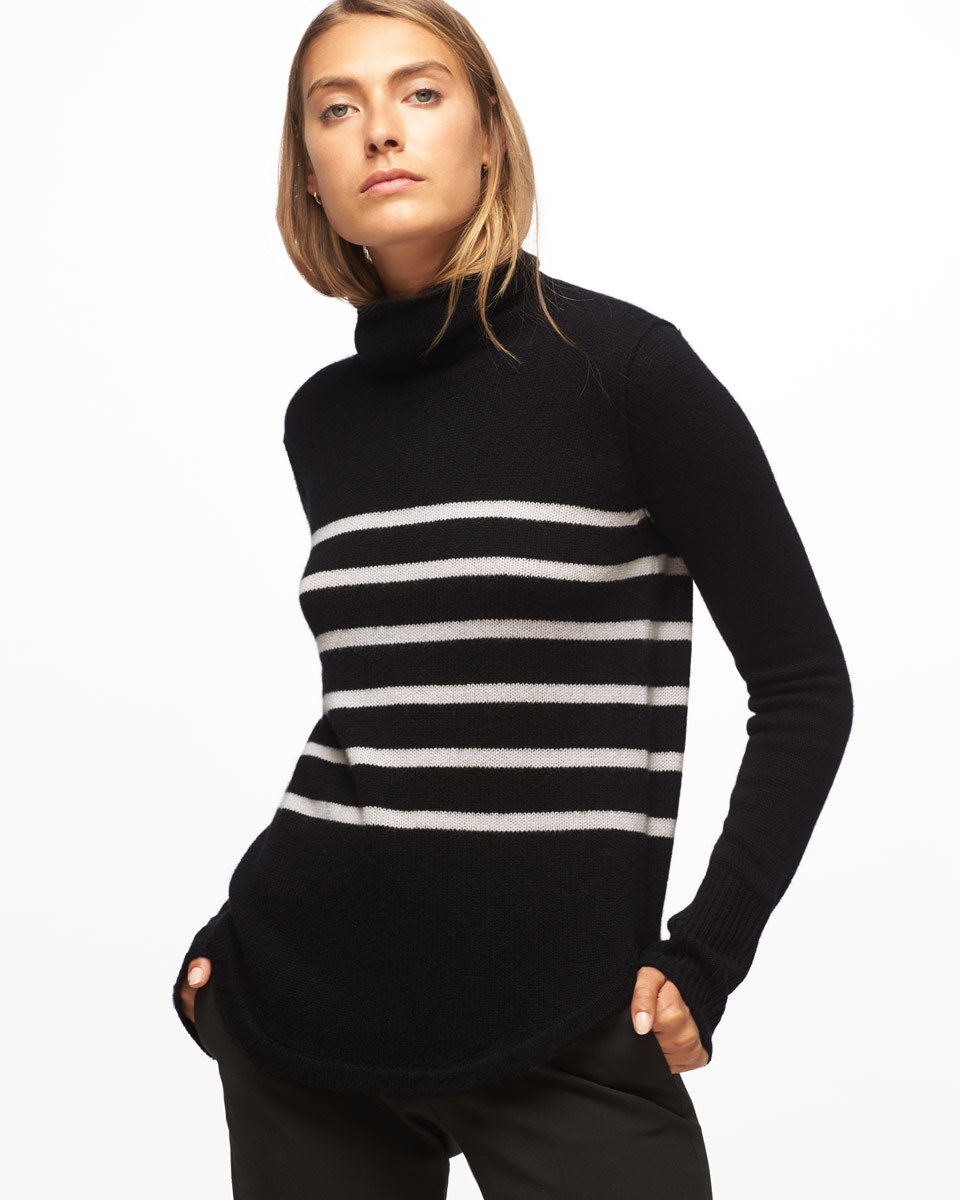 Montmartre Cashmere Stripe Polo Neck - pattern: striped; neckline: roll neck; predominant colour: black; occasions: casual, work, creative work; length: standard; style: top; fit: body skimming; fibres: cashmere - 100%; sleeve length: long sleeve; sleeve style: standard; texture group: knits/crochet; pattern type: knitted - fine stitch; season: a/w 2016; wardrobe: highlight