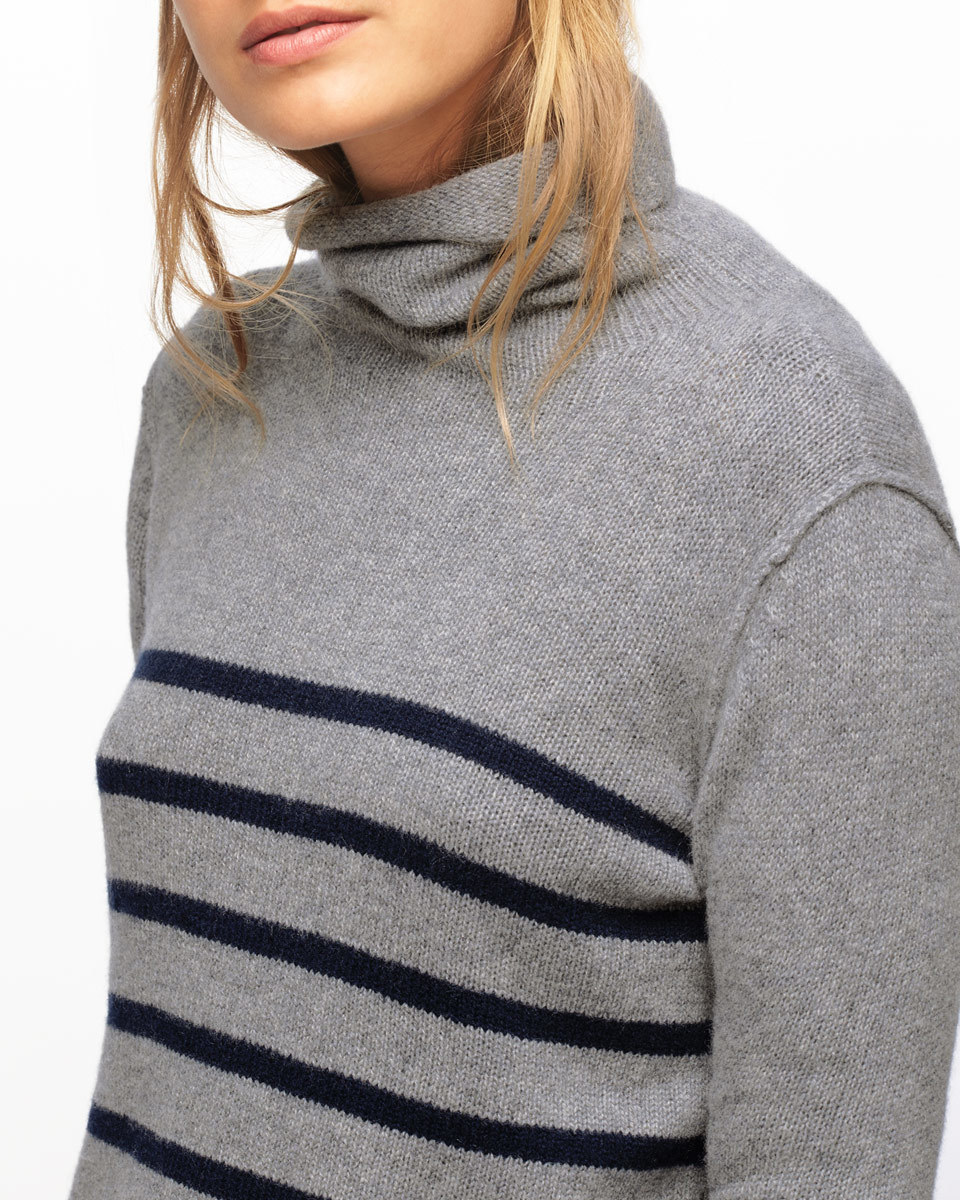 Montmartre Cashmere Stripe Polo Neck - pattern: plain; neckline: roll neck; predominant colour: mid grey; secondary colour: black; occasions: casual, creative work; length: standard; style: top; fit: body skimming; fibres: cashmere - 100%; sleeve length: long sleeve; sleeve style: standard; pattern type: fabric; pattern size: standard; texture group: jersey - stretchy/drapey; wardrobe: basic; season: a/w 2016