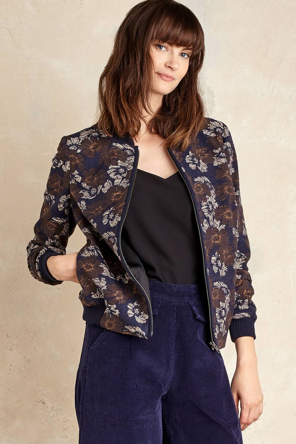 Aiden Floral Bomber Jacket, Navy - collar: round collar/collarless; style: bomber; predominant colour: navy; secondary colour: tan; occasions: casual, creative work; length: standard; fit: straight cut (boxy); fibres: viscose/rayon - stretch; sleeve length: long sleeve; sleeve style: standard; collar break: high; pattern type: fabric; pattern: patterned/print; texture group: other - light to midweight; season: a/w 2016; wardrobe: highlight