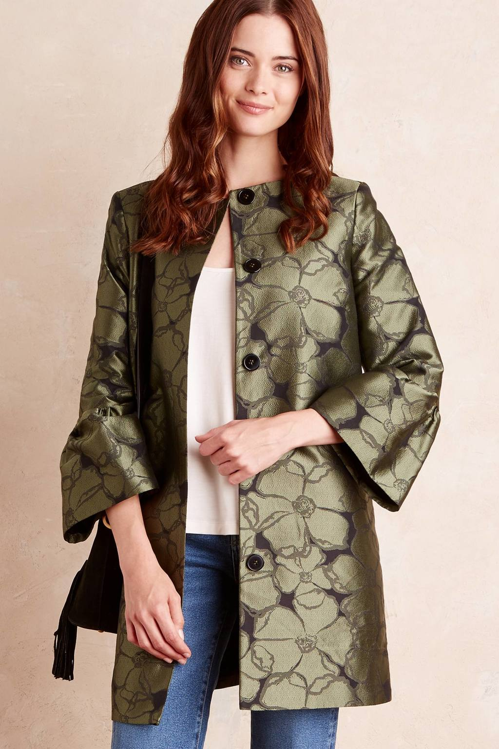 Etienne Floral Coat, Green - sleeve style: bell sleeve; length: below the bottom; collar: round collar/collarless; style: single breasted; fit: slim fit; predominant colour: gold; occasions: evening; fibres: polyester/polyamide - 100%; sleeve length: long sleeve; texture group: structured shiny - satin/tafetta/silk etc.; collar break: high; pattern type: fabric; pattern: florals; season: a/w 2016; wardrobe: event
