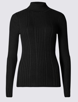 Variegated Ribbed Polo Neck Jumper - pattern: plain; length: below the bottom; neckline: roll neck; style: standard; predominant colour: black; occasions: casual, work, creative work; fit: standard fit; sleeve length: long sleeve; sleeve style: standard; texture group: knits/crochet; pattern type: knitted - fine stitch; fibres: viscose/rayon - mix; wardrobe: basic; season: a/w 2016