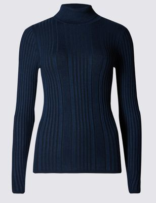 Variegated Ribbed Polo Neck Jumper - pattern: plain; length: below the bottom; neckline: roll neck; style: standard; predominant colour: navy; occasions: casual, creative work; fit: standard fit; sleeve length: long sleeve; sleeve style: standard; texture group: knits/crochet; pattern type: knitted - fine stitch; pattern size: standard; fibres: viscose/rayon - mix; wardrobe: basic; season: a/w 2016
