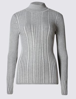 Variegated Ribbed Polo Neck Jumper - pattern: plain; length: below the bottom; neckline: roll neck; style: standard; predominant colour: light grey; occasions: casual, creative work; fit: standard fit; sleeve length: long sleeve; sleeve style: standard; texture group: knits/crochet; pattern type: knitted - fine stitch; pattern size: standard; fibres: viscose/rayon - mix; wardrobe: basic; season: a/w 2016