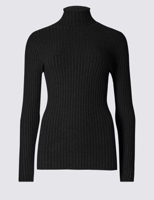 Long Sleeve Polo Neck Jumper - pattern: plain; length: below the bottom; neckline: roll neck; style: standard; predominant colour: black; occasions: casual, work, creative work; fit: slim fit; sleeve length: long sleeve; sleeve style: standard; texture group: knits/crochet; pattern type: knitted - fine stitch; fibres: viscose/rayon - mix; season: a/w 2016
