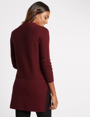 Cotton Blend 2 Pocket Tunic Jumper - pattern: plain; neckline: wide roll/funnel neck; style: tunic; predominant colour: burgundy; occasions: casual, creative work; fibres: cotton - mix; fit: standard fit; length: mid thigh; sleeve length: long sleeve; sleeve style: standard; texture group: knits/crochet; pattern type: knitted - fine stitch; season: a/w 2016; wardrobe: highlight