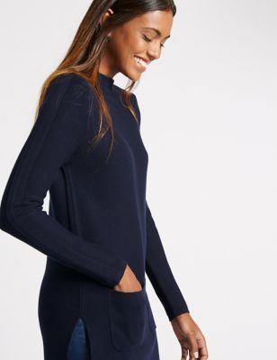 Cotton Blend 2 Pocket Tunic Jumper - pattern: plain; neckline: wide roll/funnel neck; style: tunic; predominant colour: navy; occasions: casual, creative work; fibres: cotton - mix; fit: standard fit; length: mid thigh; sleeve length: long sleeve; sleeve style: standard; texture group: knits/crochet; pattern type: knitted - fine stitch; pattern size: standard; wardrobe: basic; season: a/w 2016