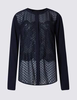 Lace Detailed Long Sleeve Jersey Top - predominant colour: navy; occasions: evening; length: standard; style: top; fibres: polyester/polyamide - 100%; fit: body skimming; neckline: crew; sleeve length: long sleeve; sleeve style: standard; texture group: lace; pattern type: fabric; pattern size: standard; pattern: patterned/print; season: a/w 2016; wardrobe: event