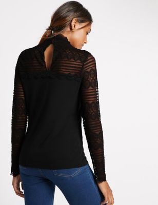 Lace Funnel Neck Long Sleeve Jersey Top - neckline: round neck; pattern: plain; predominant colour: black; occasions: casual, evening, creative work; length: standard; style: top; fibres: viscose/rayon - stretch; fit: body skimming; sleeve length: long sleeve; sleeve style: standard; pattern type: fabric; texture group: jersey - stretchy/drapey; embellishment: lace; season: a/w 2016; wardrobe: highlight