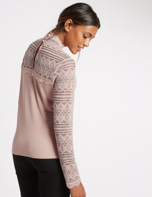 Lace Funnel Neck Long Sleeve Jersey Top - neckline: round neck; pattern: plain; occasions: casual, evening, creative work; length: standard; style: top; fibres: viscose/rayon - stretch; fit: body skimming; sleeve length: long sleeve; sleeve style: standard; pattern type: fabric; texture group: jersey - stretchy/drapey; predominant colour: dusky pink; embellishment: lace; season: a/w 2016; wardrobe: highlight