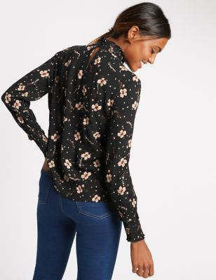 Floral Print Turtle Neck Long Sleeve Blouse - neckline: shirt collar/peter pan/zip with opening; style: blouse; secondary colour: ivory/cream; predominant colour: black; occasions: casual, work, creative work; length: standard; fibres: viscose/rayon - 100%; fit: body skimming; sleeve length: long sleeve; sleeve style: standard; pattern type: fabric; pattern: florals; texture group: other - light to midweight; multicoloured: multicoloured; season: a/w 2016; wardrobe: highlight; trends: romantic explorer