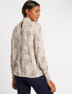 Printed Turtle Neck Long Sleeve Blouse - neckline: high neck; style: blouse; predominant colour: ivory/cream; occasions: casual, work, creative work; length: standard; fibres: polyester/polyamide - 100%; fit: body skimming; sleeve length: long sleeve; sleeve style: standard; pattern type: fabric; pattern: florals; texture group: other - light to midweight; season: a/w 2016; wardrobe: highlight; trends: romantic explorer