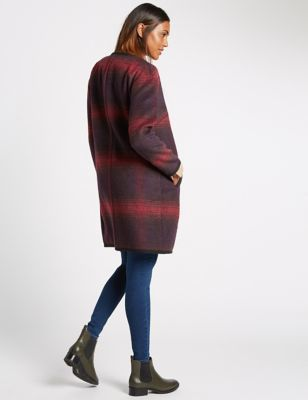 Checked Blanket Coat - collar: round collar/collarless; style: single breasted; length: mid thigh; secondary colour: true red; predominant colour: navy; occasions: casual, creative work; fit: straight cut (boxy); fibres: polyester/polyamide - mix; sleeve length: long sleeve; sleeve style: standard; collar break: high; pattern type: fabric; pattern size: standard; pattern: colourblock; texture group: woven bulky/heavy; season: a/w 2016; wardrobe: highlight