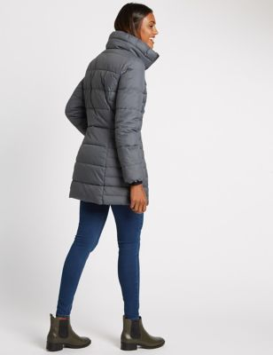Padded & Quilted Coat With Stormwear™ - sleeve style: puffed; pattern: plain; length: below the bottom; collar: funnel; predominant colour: charcoal; occasions: casual; fit: straight cut (boxy); fibres: polyester/polyamide - 100%; sleeve length: long sleeve; collar break: high; pattern type: fabric; texture group: other - bulky/heavy; style: puffa; wardrobe: basic; season: a/w 2016