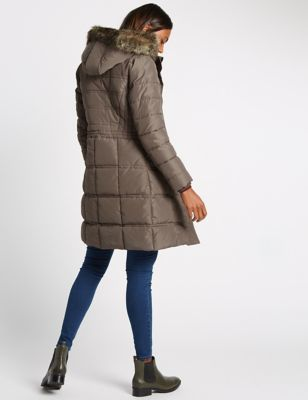 Padded & Quilted Coat With Stormwear™ - sleeve style: puffed; pattern: plain; collar: funnel; back detail: hood; length: mid thigh; predominant colour: mid grey; occasions: casual, creative work; fit: straight cut (boxy); fibres: polyester/polyamide - 100%; sleeve length: long sleeve; collar break: high; pattern type: knitted - other; pattern size: standard; texture group: other - bulky/heavy; style: puffa; embellishment: fur; season: a/w 2016; wardrobe: highlight