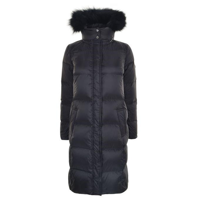 Long Puffa Coat - pattern: plain; collar: funnel; style: quilted; back detail: hood; fit: slim fit; predominant colour: black; occasions: casual; fibres: nylon - 100%; length: below the knee; sleeve length: long sleeve; sleeve style: standard; texture group: technical outdoor fabrics; collar break: high; pattern type: fabric; embellishment: fur; season: a/w 2016; wardrobe: highlight; embellishment location: neck