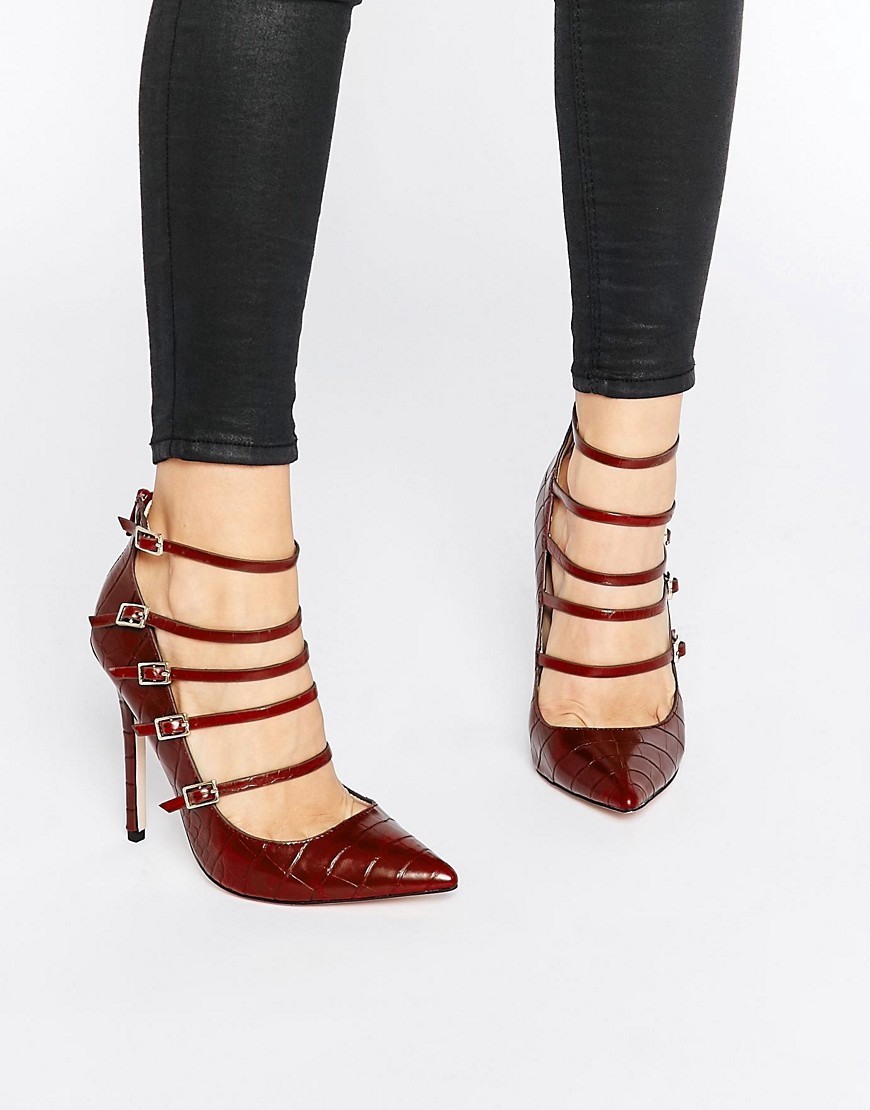 Hathaway Strappy Croc Print Court Shoes Dark Red - predominant colour: burgundy; occasions: evening, occasion; material: faux leather; ankle detail: ankle strap; heel: stiletto; toe: pointed toe; style: courts; finish: plain; pattern: plain; heel height: very high; season: a/w 2016; wardrobe: event