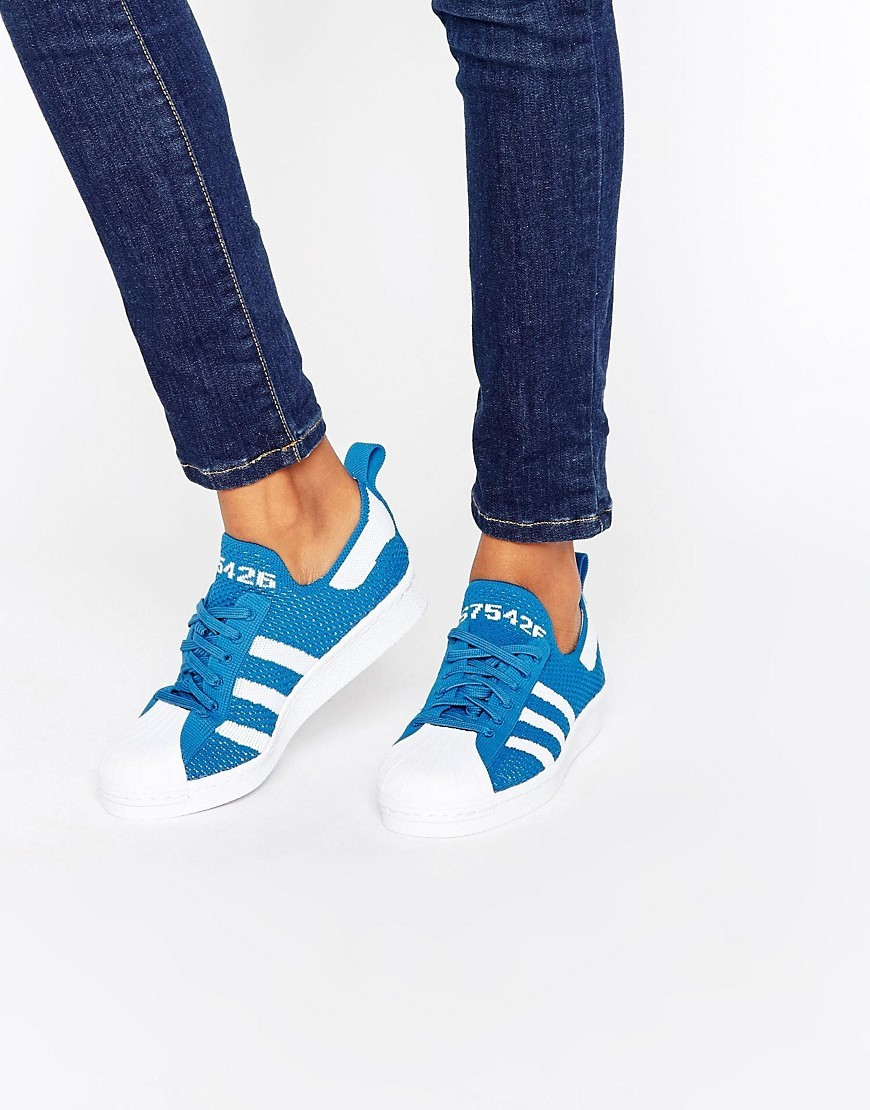 Superstar 80s Trainers Blue/White - predominant colour: diva blue; occasions: casual, activity; material: suede; heel height: flat; toe: round toe; style: trainers; finish: plain; pattern: plain; season: a/w 2016