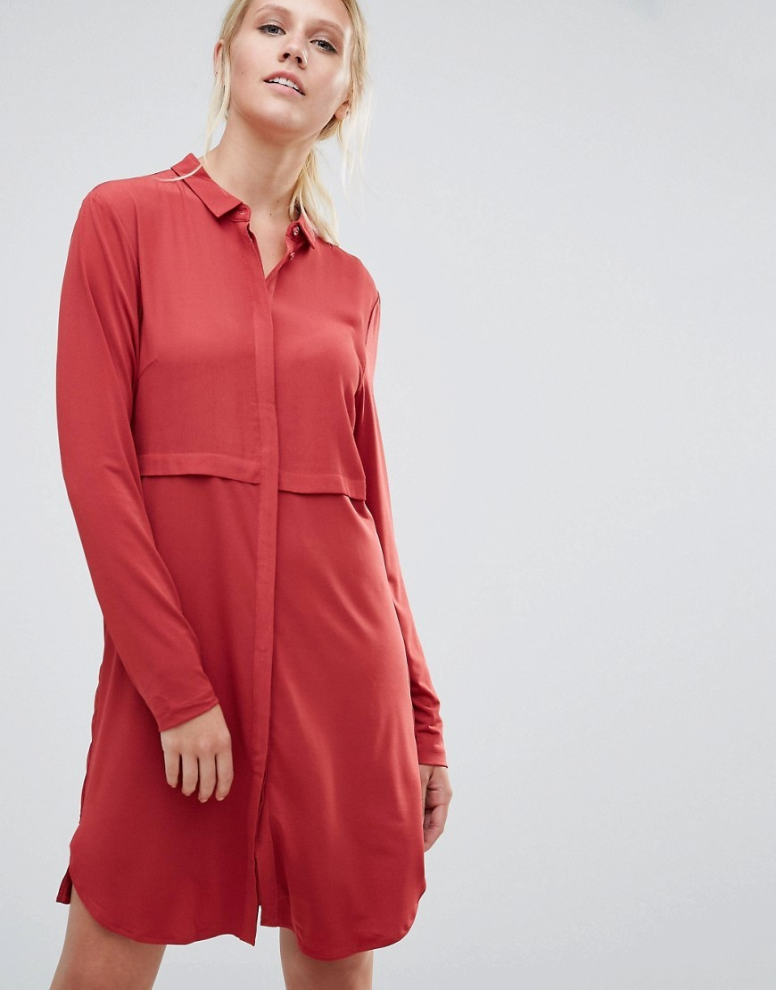 Pips Shirt Dress Brick Red - style: shirt; neckline: shirt collar/peter pan/zip with opening; pattern: plain; predominant colour: true red; occasions: casual, creative work; length: just above the knee; fit: body skimming; fibres: viscose/rayon - 100%; sleeve length: long sleeve; sleeve style: standard; pattern type: fabric; texture group: woven light midweight; season: a/w 2016; wardrobe: highlight