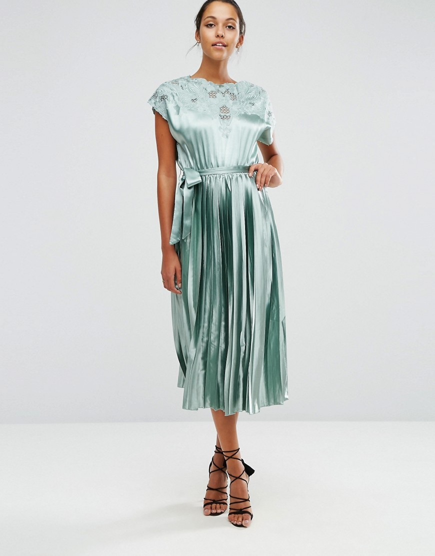 Lace Top Satin Pleated Midi Dress Mint - length: calf length; pattern: plain; waist detail: belted waist/tie at waist/drawstring; predominant colour: pistachio; occasions: evening; fit: fitted at waist & bust; style: fit & flare; fibres: polyester/polyamide - 100%; neckline: crew; hip detail: soft pleats at hip/draping at hip/flared at hip; sleeve length: short sleeve; sleeve style: standard; texture group: structured shiny - satin/tafetta/silk etc.; pattern type: fabric; embellishment: lace; season: a/w 2016; wardrobe: event