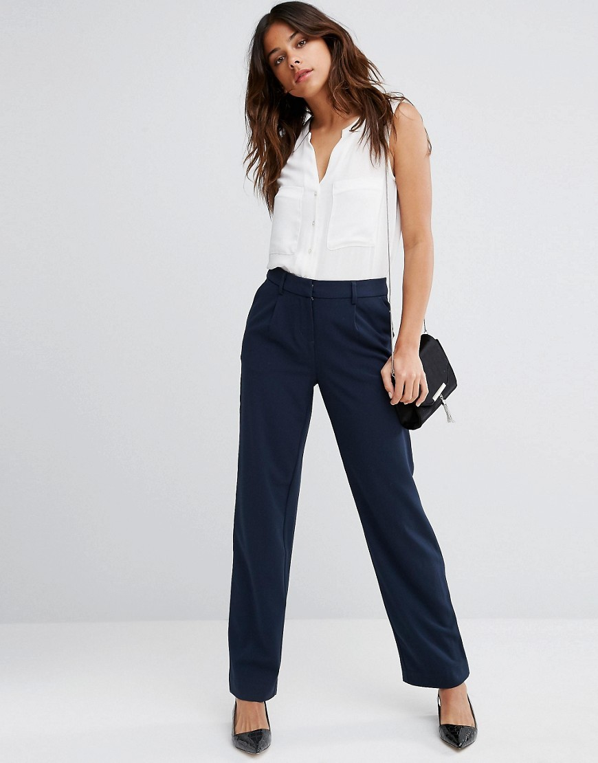 Peg Trousers Blue - length: standard; pattern: plain; style: peg leg; waist: high rise; predominant colour: navy; occasions: work; fibres: polyester/polyamide - mix; fit: tapered; pattern type: fabric; texture group: woven light midweight; wardrobe: basic; season: a/w 2016