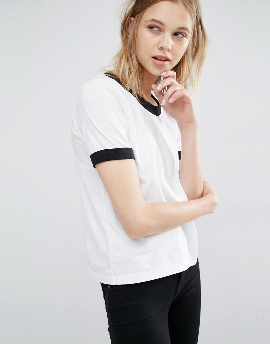 Ringer T Shirt White - pattern: plain; style: t-shirt; predominant colour: white; secondary colour: black; occasions: casual; length: standard; fibres: cotton - 100%; fit: body skimming; neckline: crew; sleeve length: short sleeve; sleeve style: standard; pattern type: fabric; texture group: jersey - stretchy/drapey; multicoloured: multicoloured; wardrobe: basic; season: a/w 2016