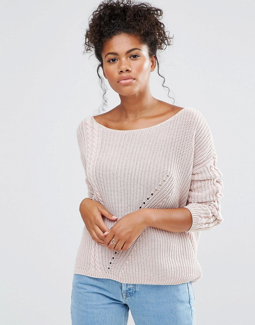 Stones Jumper In Pink Pink - neckline: scoop neck; pattern: plain; style: standard; predominant colour: blush; occasions: casual; length: standard; fibres: cotton - 100%; fit: loose; sleeve length: long sleeve; sleeve style: standard; texture group: knits/crochet; pattern type: knitted - other; wardrobe: basic; season: a/w 2016