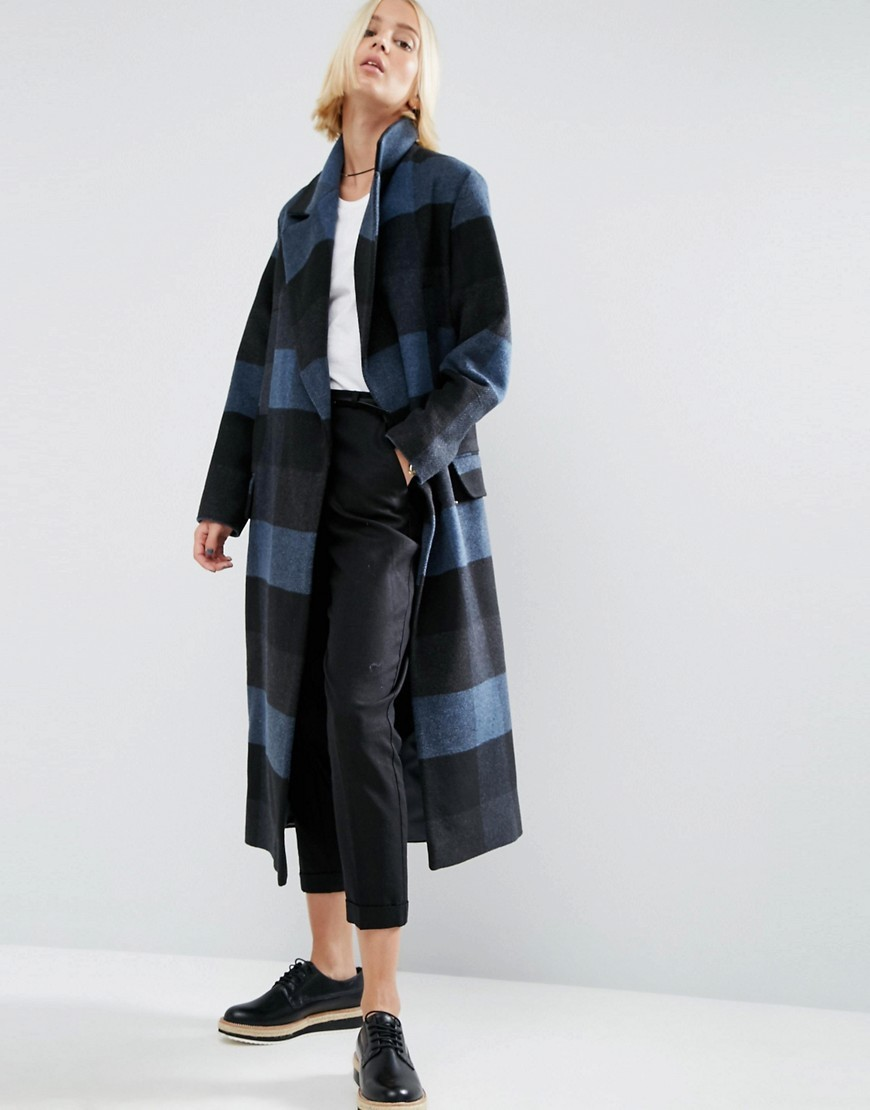 Coat In Oversized Check Multi - pattern: checked/gingham; fit: loose; style: single breasted; collar: standard lapel/rever collar; length: calf length; predominant colour: denim; secondary colour: black; occasions: casual; fibres: wool - mix; sleeve length: long sleeve; sleeve style: standard; collar break: medium; pattern type: fabric; texture group: woven bulky/heavy; multicoloured: multicoloured; season: a/w 2016; wardrobe: highlight
