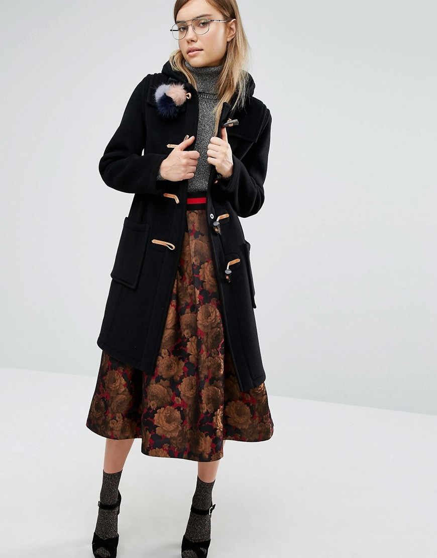 Slim Fit Duffle Coat In Long Line With Tartan Lining Black - pattern: plain; back detail: hood; length: on the knee; collar: high neck; fit: slim fit; style: duffle coat; predominant colour: black; occasions: casual; fibres: wool - mix; sleeve length: long sleeve; sleeve style: standard; collar break: high; pattern type: fabric; texture group: woven bulky/heavy; wardrobe: basic; season: a/w 2016