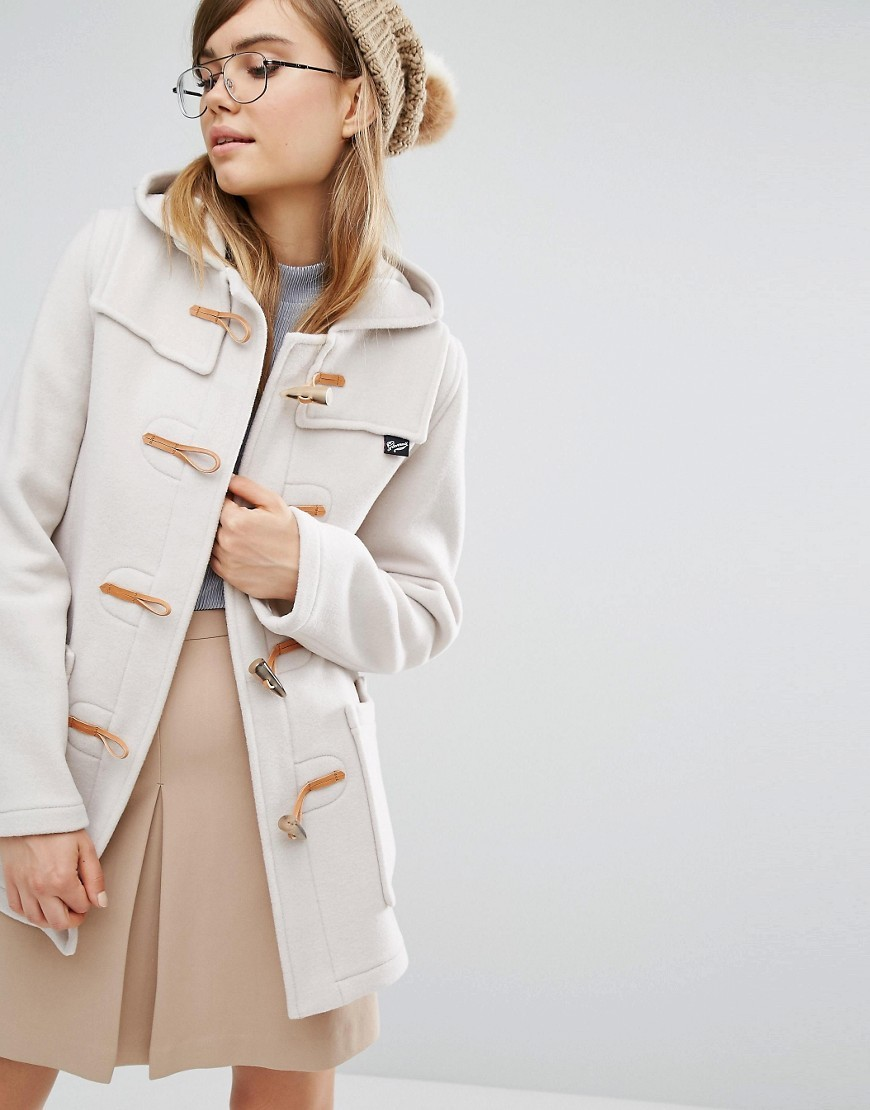 Fiitted Duffle Coat With Hood In Oatmeal Cream - pattern: plain; collar: funnel; fit: loose; back detail: hood; style: duffle coat; length: mid thigh; predominant colour: ivory/cream; occasions: casual; fibres: wool - mix; sleeve length: long sleeve; sleeve style: standard; collar break: high; pattern type: fabric; texture group: woven bulky/heavy; wardrobe: basic; season: a/w 2016