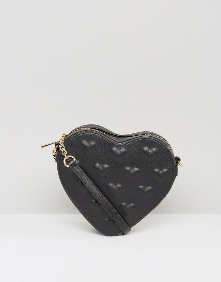 Embossed Heart Cross Body Bag Black - predominant colour: black; occasions: casual, evening; type of pattern: standard; style: shoulder; length: across body/long; size: small; material: faux leather; pattern: plain; finish: plain; wardrobe: investment; season: a/w 2016