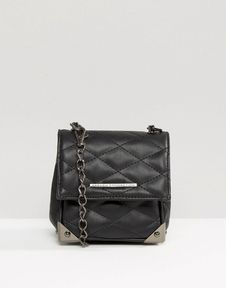 Quilted Cross Body Bag Black - predominant colour: black; occasions: casual, creative work; type of pattern: standard; style: messenger; length: across body/long; size: small; material: faux leather; pattern: plain; finish: plain; wardrobe: basic; season: a/w 2016