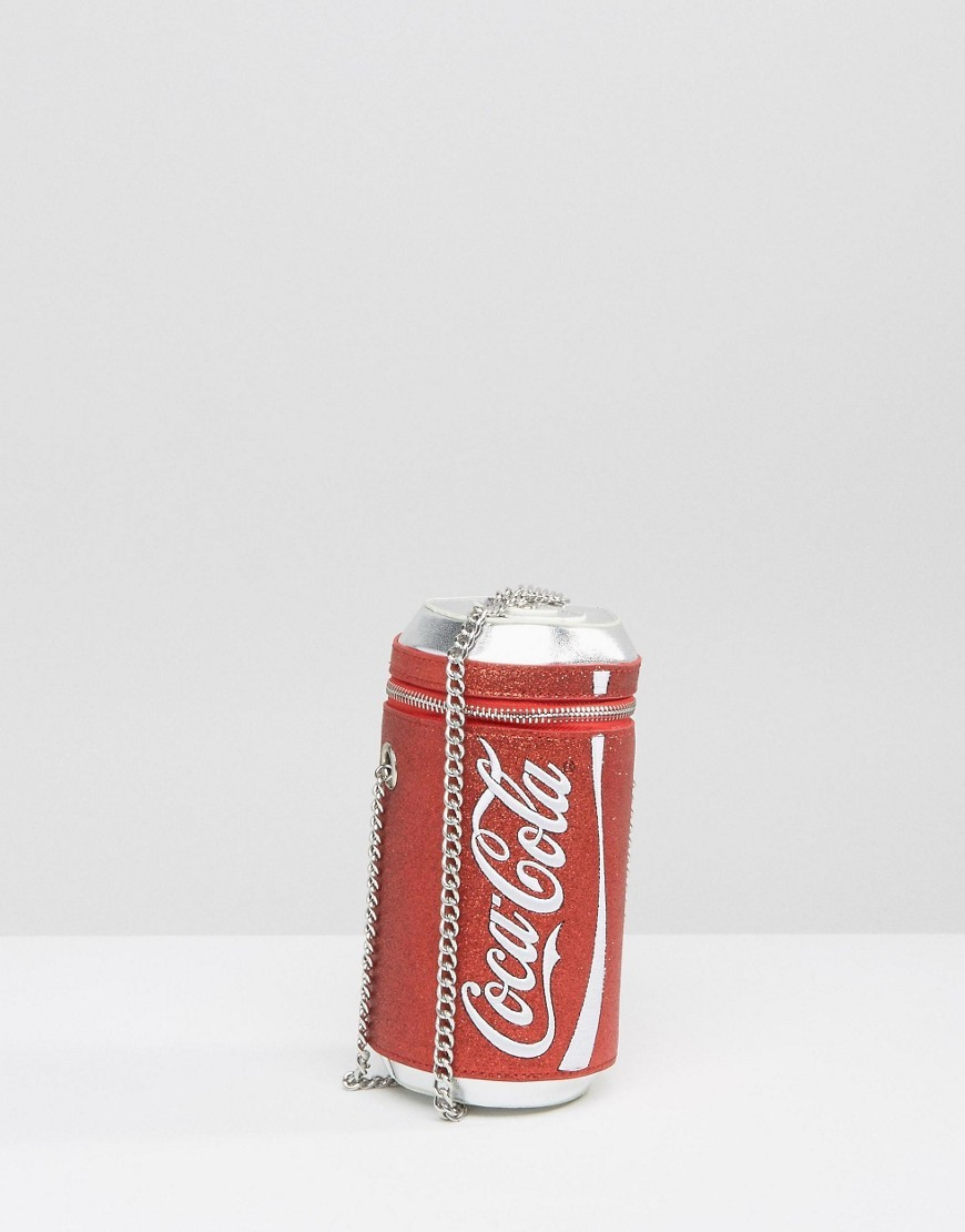 X Coke Can Glitter Cross Body Bag Red - secondary colour: white; predominant colour: true red; occasions: casual; type of pattern: light; style: shoulder; length: shoulder (tucks under arm); size: mini; material: faux leather; finish: plain; pattern: patterned/print; season: a/w 2016; wardrobe: highlight