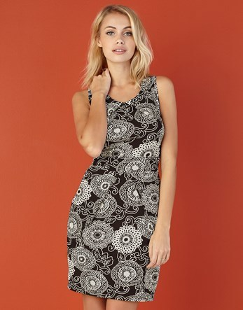 Circular Tie Back Dress - style: shift; neckline: v-neck; sleeve style: sleeveless; secondary colour: light grey; predominant colour: black; occasions: evening; length: just above the knee; fit: body skimming; fibres: polyester/polyamide - stretch; sleeve length: sleeveless; pattern type: fabric; pattern: patterned/print; texture group: jersey - stretchy/drapey; multicoloured: multicoloured; season: a/w 2016; wardrobe: event