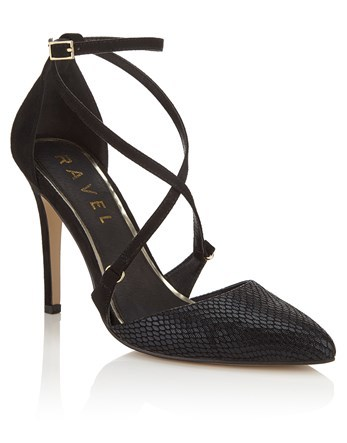 Strappy Court Shoe - predominant colour: black; occasions: evening, occasion; material: faux leather; heel height: high; heel: stiletto; toe: pointed toe; style: courts; finish: plain; pattern: plain; season: a/w 2016; wardrobe: event