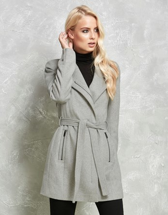 Wool Coat - pattern: plain; collar: wide lapels; style: wrap around; fit: slim fit; length: mid thigh; predominant colour: light grey; occasions: casual; fibres: wool - 100%; waist detail: belted waist/tie at waist/drawstring; sleeve length: long sleeve; sleeve style: standard; collar break: medium; pattern type: fabric; texture group: woven bulky/heavy; season: a/w 2016