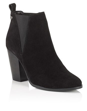 High Chelsea Boots - predominant colour: black; occasions: casual; material: suede; heel height: high; heel: block; toe: round toe; boot length: ankle boot; style: standard; finish: plain; pattern: plain; season: a/w 2016; wardrobe: highlight