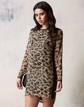 Leopard Print Dress - style: shift; length: mid thigh; secondary colour: chocolate brown; predominant colour: nude; occasions: evening; fit: body skimming; fibres: polyester/polyamide - 100%; neckline: crew; sleeve length: long sleeve; sleeve style: standard; texture group: sheer fabrics/chiffon/organza etc.; pattern type: fabric; pattern: patterned/print; multicoloured: multicoloured; season: a/w 2016; wardrobe: event