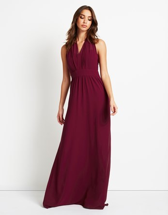 Multiway Maxi Dress - neckline: v-neck; pattern: plain; sleeve style: sleeveless; style: maxi dress; predominant colour: burgundy; occasions: evening; length: floor length; fit: body skimming; fibres: polyester/polyamide - 100%; sleeve length: sleeveless; pattern type: fabric; texture group: jersey - stretchy/drapey; season: a/w 2016; wardrobe: event