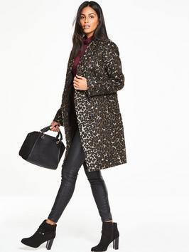 Leopard Print Boyfriend Coat - collar: round collar/collarless; style: single breasted; length: mid thigh; secondary colour: white; predominant colour: chocolate brown; occasions: casual, creative work; fit: straight cut (boxy); fibres: wool - mix; sleeve length: long sleeve; sleeve style: standard; collar break: low/open; pattern type: fabric; pattern: animal print; texture group: brocade/jacquard; multicoloured: multicoloured; season: a/w 2016; wardrobe: highlight