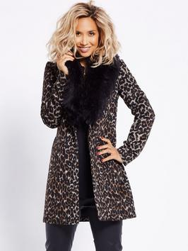 Faux Fur Collar Leopard Coat - style: single breasted; fit: slim fit; length: mid thigh; secondary colour: ivory/cream; predominant colour: charcoal; occasions: evening; fibres: wool - mix; sleeve length: long sleeve; sleeve style: standard; collar: fur; collar break: high; pattern type: fabric; pattern: animal print; texture group: woven bulky/heavy; multicoloured: multicoloured; season: a/w 2016; wardrobe: event
