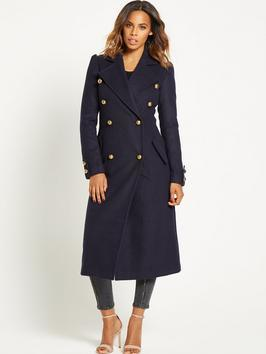 Military Maxi Length Coat Navy - pattern: plain; style: double breasted military coat; fit: slim fit; collar: standard lapel/rever collar; length: calf length; predominant colour: navy; occasions: casual; fibres: polyester/polyamide - mix; sleeve length: long sleeve; sleeve style: standard; collar break: medium; pattern type: fabric; texture group: woven bulky/heavy; wardrobe: basic; season: a/w 2016
