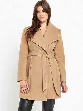 Belted Fit And Flare Coat Camel - pattern: plain; style: wrap around; collar: standard lapel/rever collar; length: mid thigh; predominant colour: camel; occasions: casual; fit: tailored/fitted; fibres: wool - mix; waist detail: belted waist/tie at waist/drawstring; sleeve length: long sleeve; sleeve style: standard; collar break: medium; pattern type: fabric; texture group: woven bulky/heavy; wardrobe: basic; season: a/w 2016