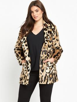 Leopard Short Fur Jacket - length: below the bottom; collar: shawl/waterfall; predominant colour: tan; secondary colour: black; occasions: evening, creative work; fit: straight cut (boxy); fibres: acrylic - 100%; style: fur coat; sleeve length: long sleeve; sleeve style: standard; texture group: fur; collar break: low/open; pattern type: fabric; pattern size: standard; pattern: animal print; season: a/w 2016; wardrobe: highlight