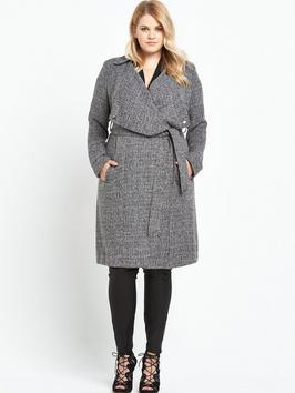 Draped Tweed Belted Duster Long Line Jacket - collar: wide lapels; length: on the knee; style: wrap around; pattern: herringbone/tweed; secondary colour: white; predominant colour: black; occasions: casual, creative work; fit: tailored/fitted; fibres: polyester/polyamide - mix; waist detail: belted waist/tie at waist/drawstring; sleeve length: long sleeve; sleeve style: standard; collar break: medium; pattern type: fabric; pattern size: standard; texture group: tweed - bulky/heavy; wardrobe: basic; season: a/w 2016
