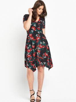 Plunge Wrap Hanky Hem Dress - style: faux wrap/wrap; neckline: v-neck; secondary colour: true red; predominant colour: black; occasions: casual, evening, creative work; length: just above the knee; fit: body skimming; fibres: polyester/polyamide - 100%; sleeve length: short sleeve; sleeve style: standard; pattern type: fabric; pattern: florals; texture group: jersey - stretchy/drapey; multicoloured: multicoloured; season: a/w 2016; wardrobe: highlight; trends: opulent prints