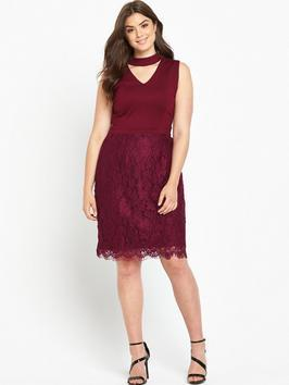 V Neck Top Lace Skirt Dress Bordeaux - style: shift; neckline: v-neck; pattern: plain; sleeve style: sleeveless; predominant colour: burgundy; occasions: evening; length: on the knee; fit: body skimming; fibres: polyester/polyamide - 100%; sleeve length: sleeveless; pattern type: fabric; texture group: jersey - stretchy/drapey; season: a/w 2016