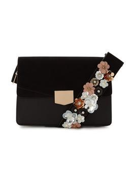 Flower Embellished Crossbody - secondary colour: nude; predominant colour: black; occasions: casual, creative work; type of pattern: standard; style: shoulder; length: across body/long; size: standard; embellishment: applique; pattern: plain; finish: plain; material: faux suede; wardrobe: investment; season: a/w 2016