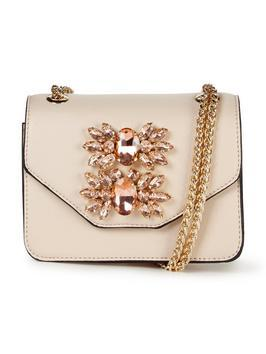 Mini Jewel Embellished Shoulder Bag Nude - predominant colour: nude; type of pattern: standard; style: shoulder; length: across body/long; size: standard; material: faux leather; pattern: plain; finish: plain; embellishment: jewels/stone; occasions: creative work; wardrobe: investment; season: a/w 2016