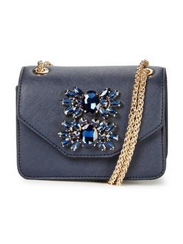 Mini Jewel Embellished Shoulder Bag Navy - predominant colour: navy; secondary colour: gold; type of pattern: standard; style: shoulder; length: across body/long; size: standard; material: faux leather; pattern: plain; finish: plain; embellishment: chain/metal; occasions: creative work; season: a/w 2016